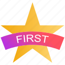award, first, first position, medal, reward, star, winner icon
