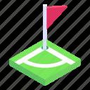 sports flag, game banner, emblem, flagpole, streamer icon