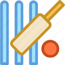 bails, cricket, cricket ball, stump wicket, wicket icon