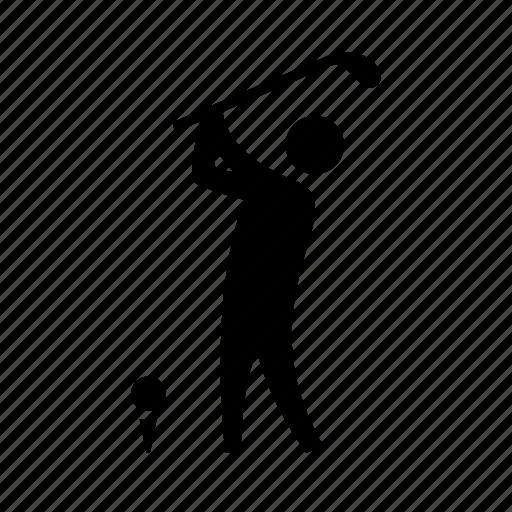 club, figure, golf, golf club, man, sport, swing icon