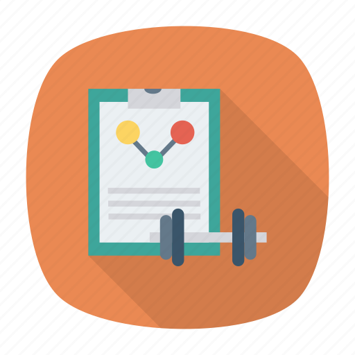 clipbpoard, dumbbell, page, weight icon
