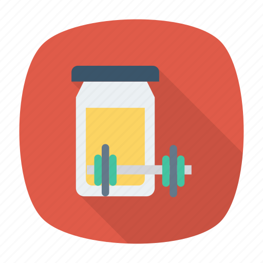 dumbbell, exercise, jar, protiens icon