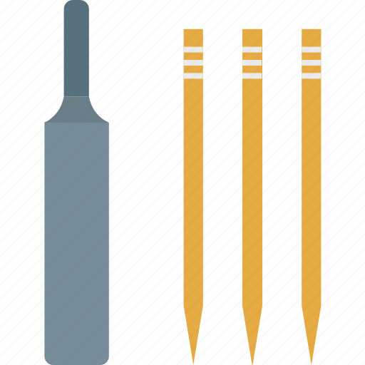 bat, cricket, cricket bat, cricket bat and wicket, game, sports icon