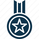 ., achievement, medal, position medal, reward, star medal icon