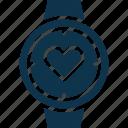 heart in watch, heart watch, heartbeat, loving, loving watch, wrist watch icon
