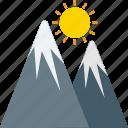 hiking, hills, landscape, mountains, sun icon