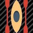 boating, canoe, canoe paddle, canoeing, oars icon