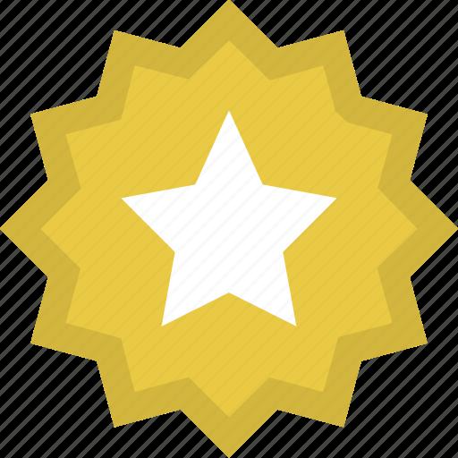 achievement, award, badge, gold, medal, reward, star icon