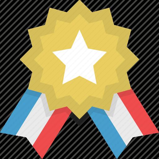 achievement, badge, gold, medal, prize, reward, star icon