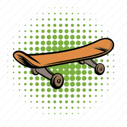 board, comics, drawn, hand, quirky, skate, skateboard icon