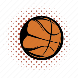 activity, ball, basketball, comics, equipment, orange, sphere icon