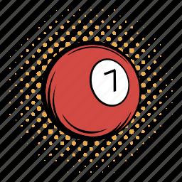 american, ball, billiard, comics, cue, number, pool icon