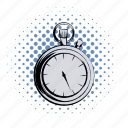 arrow, clock, comics, competition, countdown, deadline, stopwatch icon