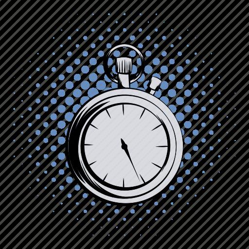 arrow, clock, comics, competition, countdown, deadline, stopwatch icon