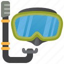 scuba, diving, goggles, snorkel, mask icon