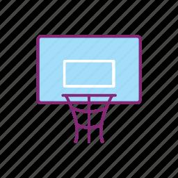 basketball, board, equipment, glass, net, sport, sports icon
