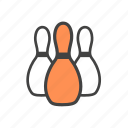bowl, bowling, bowling pins, pins icon
