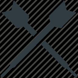 archery, bullseye arrow, dart pin, dart stick, darts icon