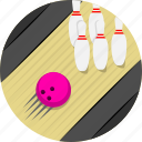 bowling, bowling ball, bowling pin, game, spare, sports, strike icon