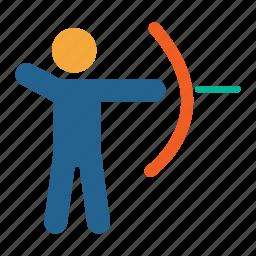 adventure, archery, games, olympics, sports icon