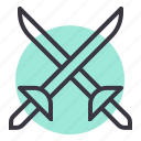 combat, cross swords, duel, fight, fighting, sword, weapon icon