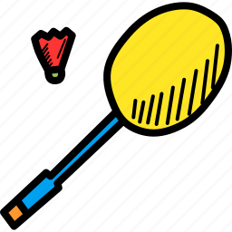 badminton, cock, olympics, racket, racquet, shuttle, sports icon