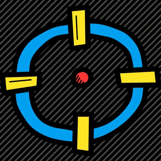 aim, bullseye, crosshair, goal, hit, shoot, target icon