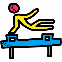 acrobatics, fitness, gym, gymnastics, olympics, pommel horse, training icon