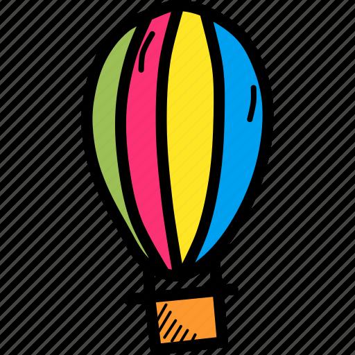 air, balloon, fly, fun, hot, parachute, travel icon