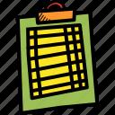 clipboard, pad, paper, refreee, score, scorecard, track icon