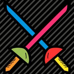 ammunition, cross swords, fight, fighting, olympics, sword, weapon icon