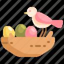 animal, bird, easter, egg, nest icon
