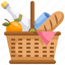 basket, camping, food, picnic icon