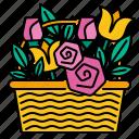flower, basket, summer, floral, bouquet, spring, bloom