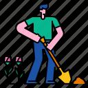 flower, garden, gardening, shovel, spade, agriculture, plant