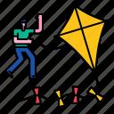 kite, sky, happy, wind, summer, toy, leisure