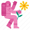astronaut, floral, nature, summer, spring, space icon