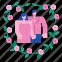 couple, flower, love, wedding, floral, frame, bouquet