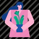 flower, pot, plant, leaf, garden, women, decorative