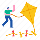 kite, sky, happy, wind, summer, toy, leisure icon