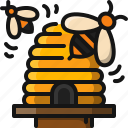 beehive, bee, honey, insect, farm, food