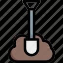 construction, shovel, spring, tool icon
