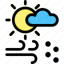 cloud, sun, weather, wind icon