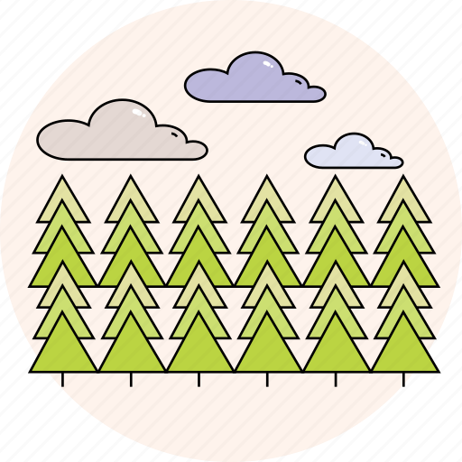 cloudy, forest, nature, season, spring, tree, trees icon