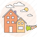 cloudy, home, house, spring, sun icon