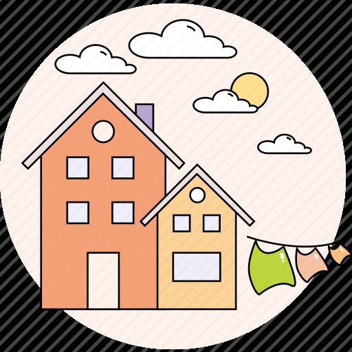cloudy, home, house, spring, sun icon