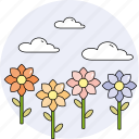 clouds, flowers, nature, plant, season, sky, spring icon