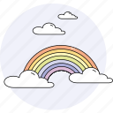 clouds, forecast, rainbow, season, sky, spring, weather icon