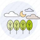 clouds, forecast, moon, season, spring, summer, trees icon