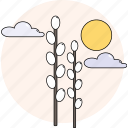 cloudy, day, spring, sun, willow icon